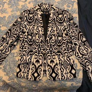 Black and white ikat blazer